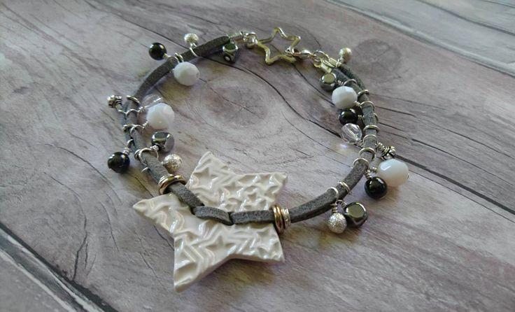 Ceramic white star and suede bracelet by FolbarJewellery on Etsy
