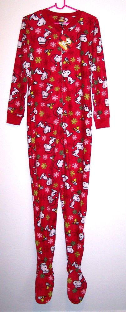 Snoopy Pajamas M Adult Fleece Footie Pjs Peanuts Xmas Holiday Red Dog Footed NEW #Peanuts #FootedPajamas
