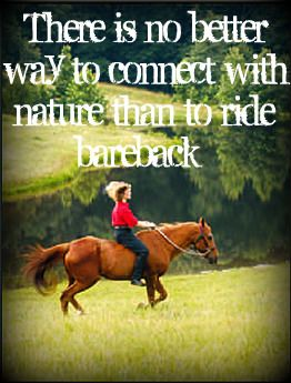 bareback riding  ... wish I could ride like that one more time... but i'll settle for the saddle since that's the best I can do...