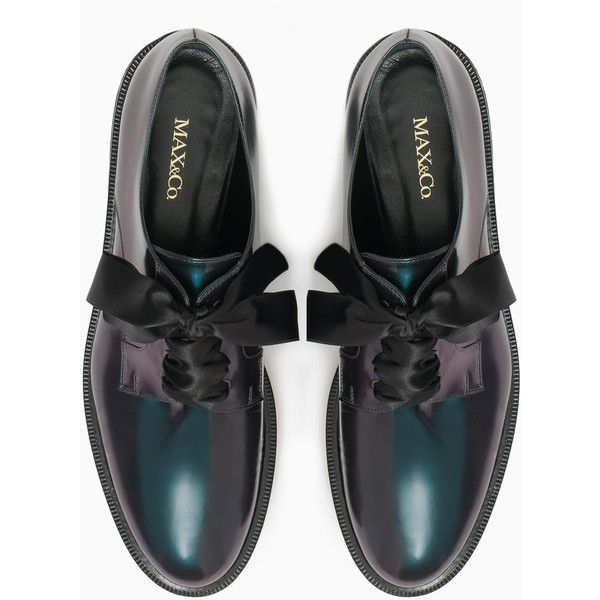 Iridescent leather Derby shoes ($295) ❤ liked on Polyvore featuring shoes, oxfords, small heel shoes, low heel shoes, laced shoes, round toe shoes and ribbon shoes
