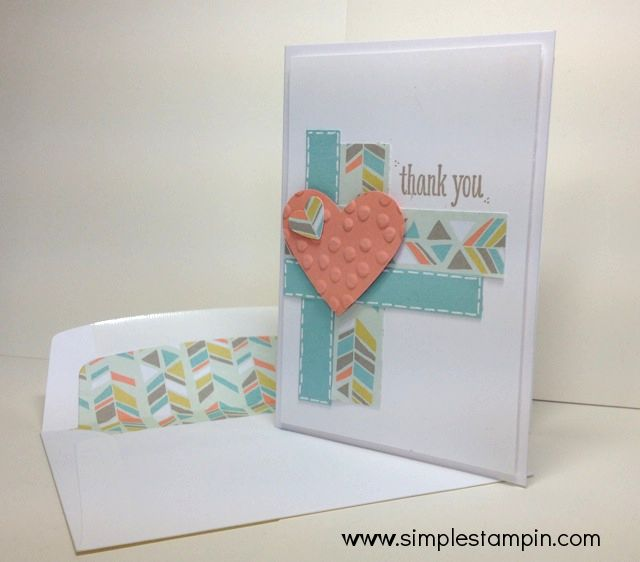 Stampin' Up! Thank You card with Sale-a-bration 2014 DSP,Peaceful Petals Stamp Set,Full Heart Punch