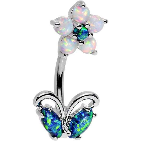 Clear Aqua Faux Opal Flourishing Flower Double Mount Belly Ring ❤ liked on Polyvore featuring jewelry, rings, fake belly button rings, floral ring, opal jewelry, flower belly ring and navel rings