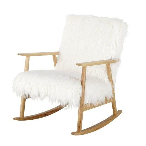Rocking Chair Vintage Imitation Fourrure Blanche Maisons Du Monde Chaise A Bascule Chaise A Bascule Vintage Fauteuil A Bascule En Rotin