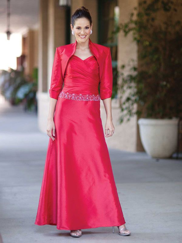 Straps taffeta dress for mother of the bride with dropped waist