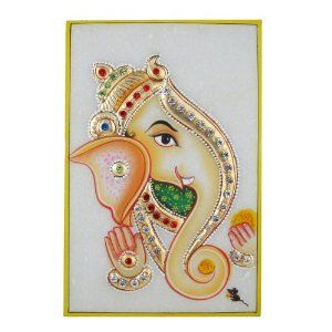 Ganesh Ganesha Indian Art Embossed Miniature Painting on Marble Plate (Kitchen)  http://documentaries.me.uk/other.php?p=B0069KJ0AG  B0069KJ0AG