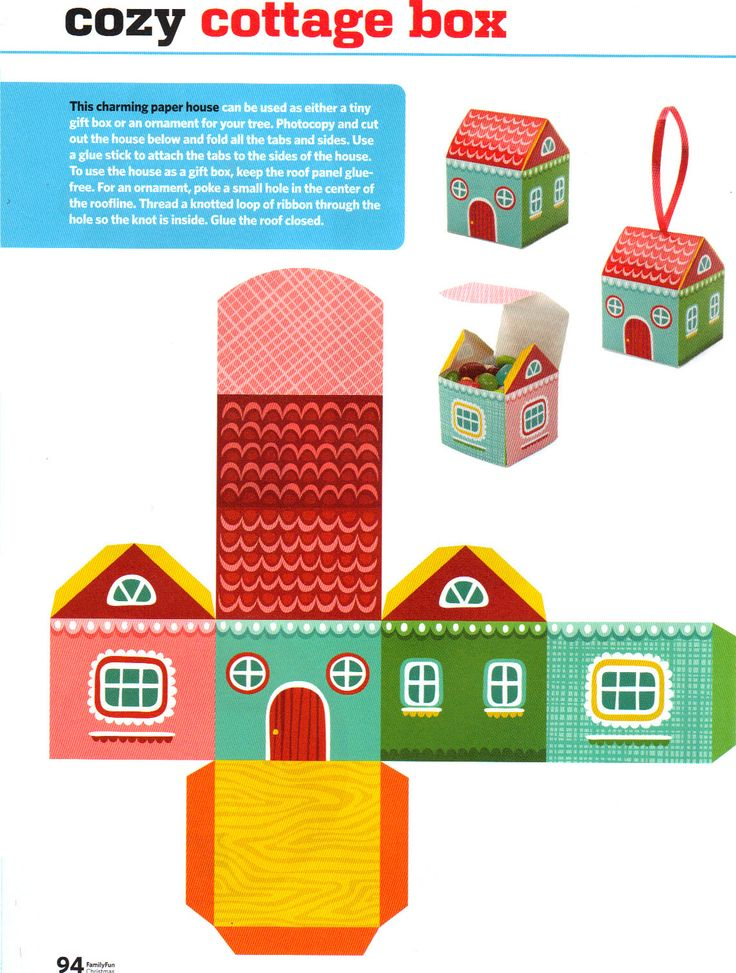 Ornament idea using a cube as a pattern. Use a blank template and let students design the sides and roof for their house.