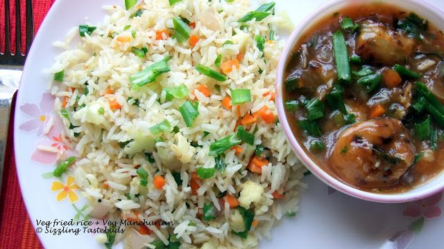 Sizzling Tastebuds: Veg Fried Rice with Low cal Veg Manchurian : A perfect way to beat the monsoon blues !