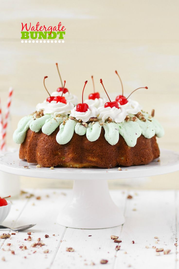 This Watergate Bundt cake is moist and flavorful! Full of pistachio pudding, pineapple, coconut, and pecans, it's impossible to resist!