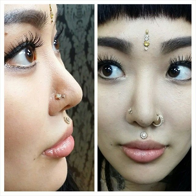 Alisha's healed philtrum and nostril piercings with gorgeous jewelry from @bvla at @sacredtattoonyc ♡ #purebodyarts #sacredtattoonyc #bvla (at Sacred Tattoo NYC)