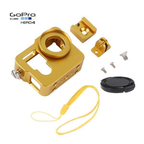 Gold color Aluminum GoPro Housing for Hero4 camera