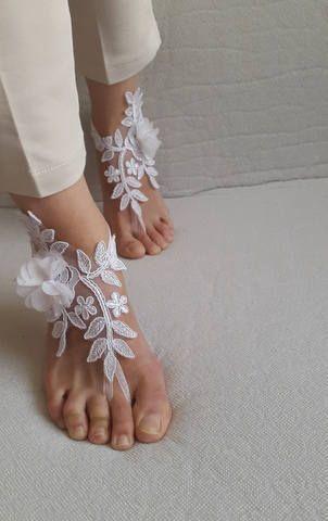 Yalınayak sandaletler çiçekler beyaz fransız dantel yalınayak sandaletler düğün sandaletleri kostüm aksesuarları ücretsiz gönderim! #jewelry