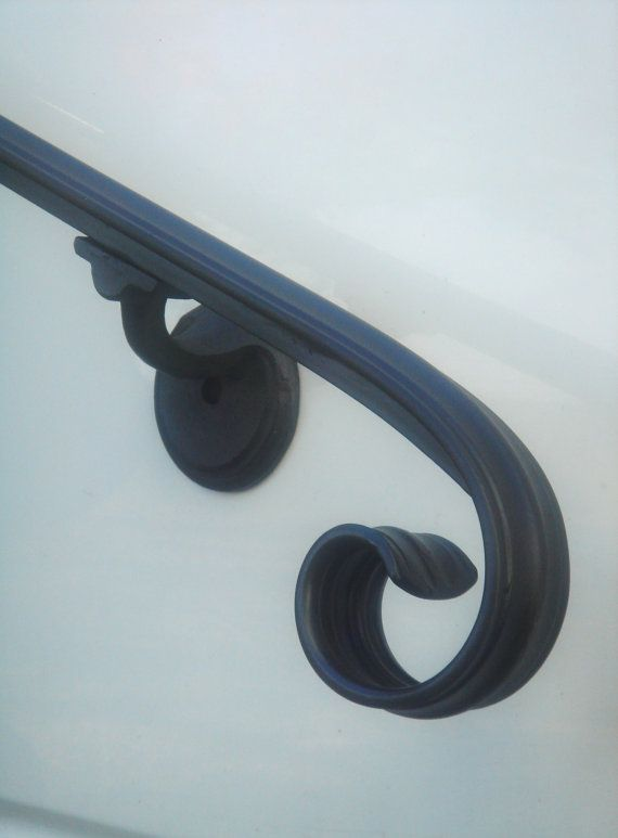 6 Ft. Wrought Iron Hand Rail Wall Rail Stair Step Railing Wall Mount Handrail on Etsy, $190.00