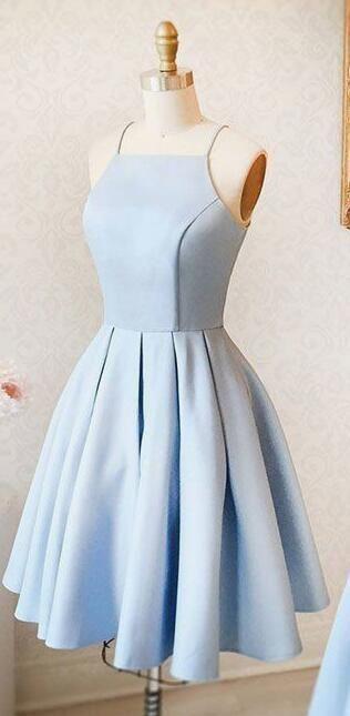 A-Line Halter Light Blue Short Homecoming Dress,Cute Prom Dress from lovingdress