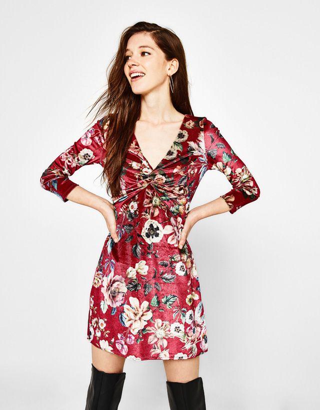 6e5798e5f Vestido de terciopelo con estampado de flores   clothes   Vestidos ...