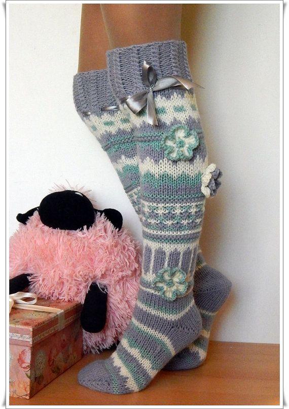 Valentine gift ideas Wool Knee high Knee socks for the home Handmade socks Knee-high knitted Knitted socks with flowers Woman socks Gaiters