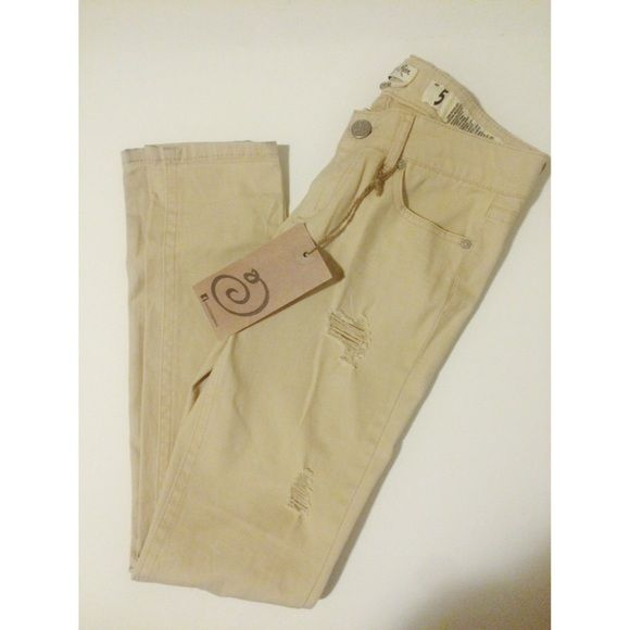 Distressed Tan Jeans New with tags! Perfect summer jeans! Jeans