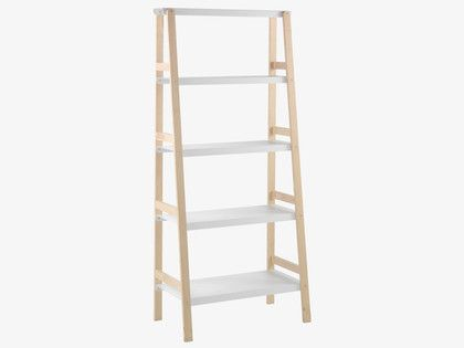 EMI White metal and wood shelving unit
