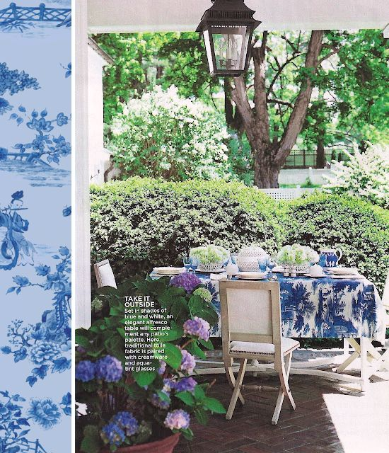 Toile Tablecloth And Lantern