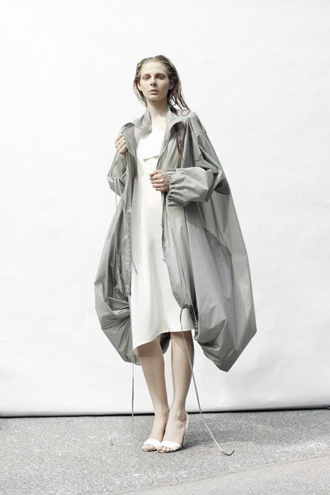Visions of the Future: Grey jacket with drawstring hem for soft volume; contemporary fashion // Michael Sontag S/S 2011