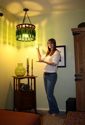 Tutorial on how to make a wine bottle chandelier for around $50