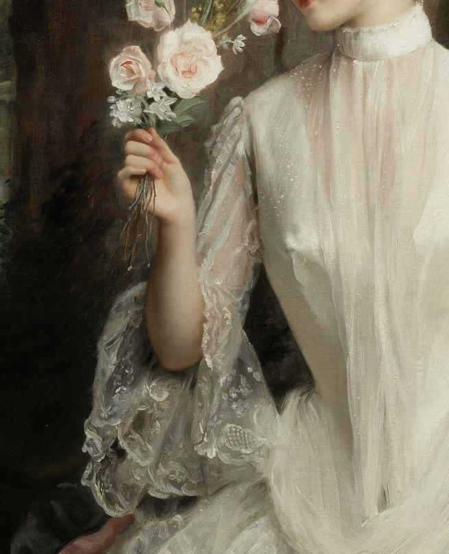 """detailsofpaintings: """"Gustave-Jean Jacquet, Un élégant bouquet (detail) 1886 """""""