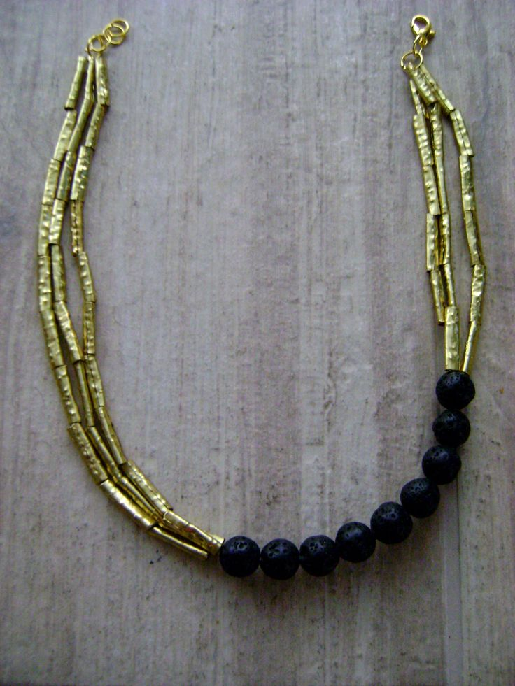 Brass and volcanic stones necklace