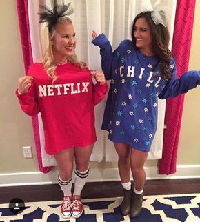This Netflix and Chill Halloween costume is so easy to DIY with your BFF.