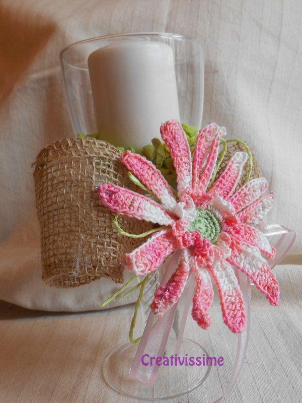 Candelabro - portacandela Gerbera rosa all'uncinetto fatto a mano, by CREATIVISSIME, 18,00 € su misshobby.com