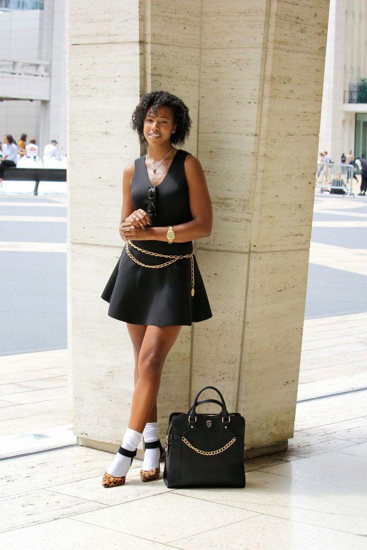 Black dress heels - Oversized Black Bag Gold Chain Belt White Slouched Socks Black Dress Leopard