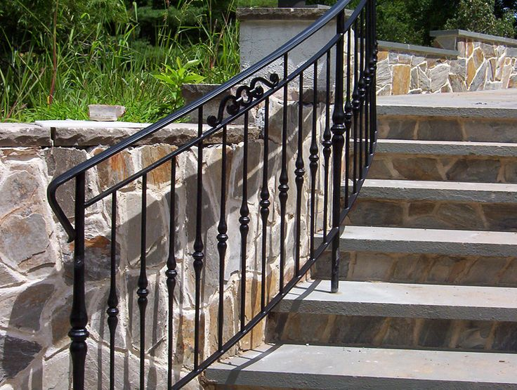 31 best stoop railing images on pinterest banisters - Exterior wrought iron handrails for steps ...