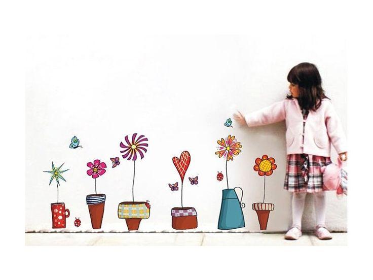 Samolepky na zeď - květiny. Krásný set samolepek na zeď, arch má rozměr 45 x 60 cm, dekor na zdi cca 120 x 40 cm.