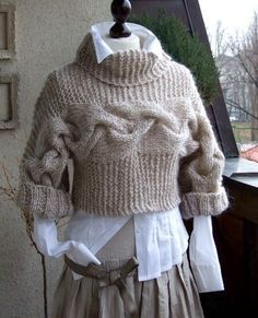 BRAIDED SHRUG modern urban in caffee latte by couvert on Etsy, $95.00
