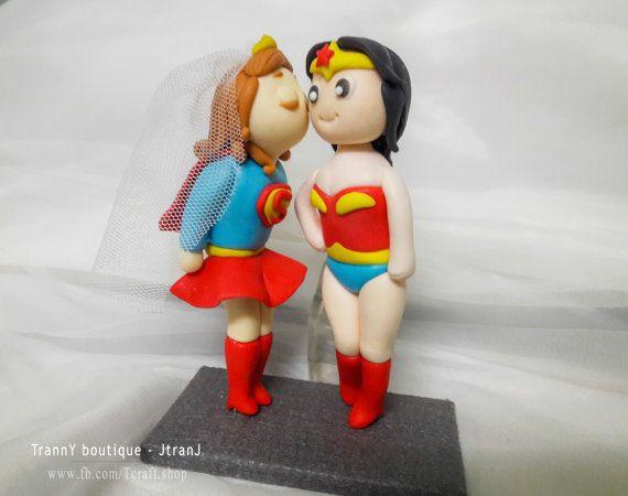 Lesbian Wedding Cake Toppers Superwoman and Wonder Woman by JtranJ