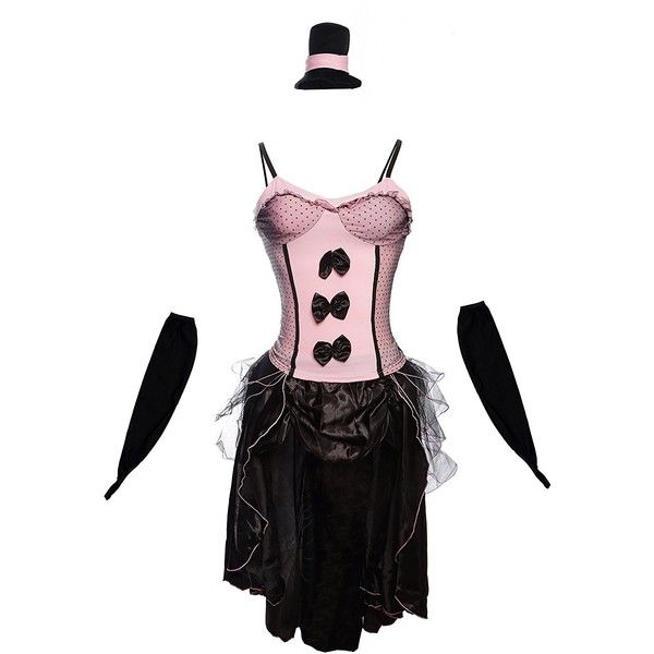 Burlesque Fancy Dress for Halloween, Hen Parties, Stage Performances ❤ liked on Polyvore featuring costumes, white halloween costumes, wild west costumes, bar maid costume, tavern maiden costume and beer maiden costume