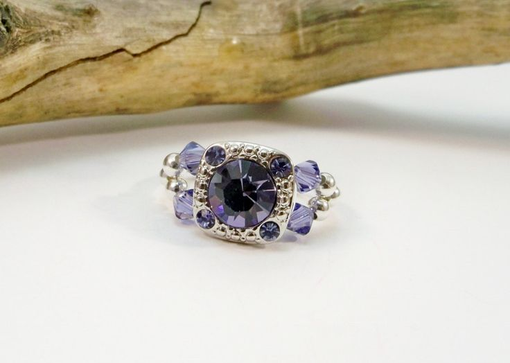 Stretch Band Ring, Tanzanite Crystal Ring, Cocktail Ring, Purple and Silver, Stretch Ring, Swarovski Crystal Ring, Gift for Her by babbleon on Etsy