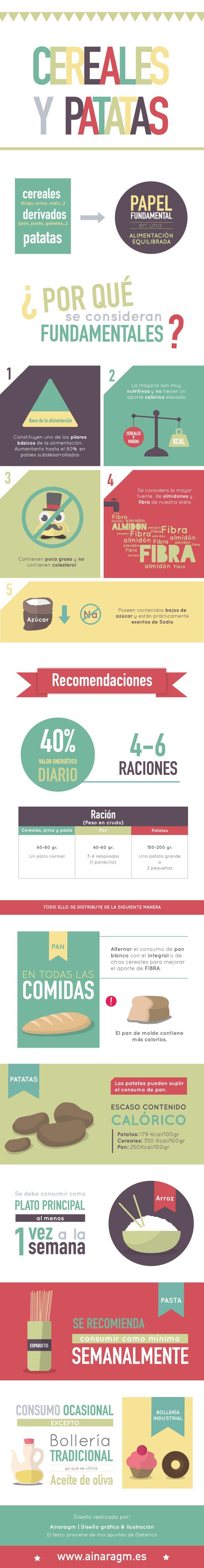 Infografía sobre los cereales y las patatas #dietetica #dieta #salud #infografia #diseno