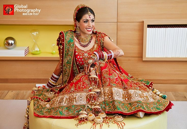 Red/ green panetar lengha | courtesy Global Photography : Yogi Patel | www.shaadibelles.com
