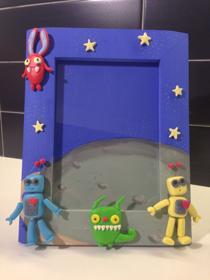 Baby Space frame - fimo decorated