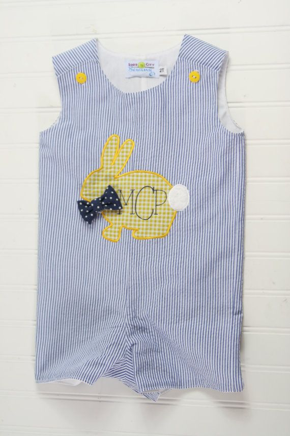 Baby Boy Easter Outfit -Bunny Rabbit on Blue Seersucker  Cute seersucker shortall with a little yellow bunny. Perfect to welcome spring, or for an