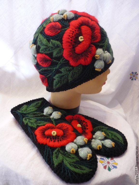 """Купить Комплект с вышивкой, шапка + варежки """"Маки"""" - разноцветный, цветочный, вышивка ручная, маки"""