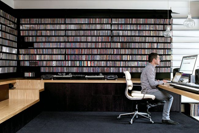 Fine-line shelving: The wall storage needed for Dean's record and CD collection was pretty serious, but customised...