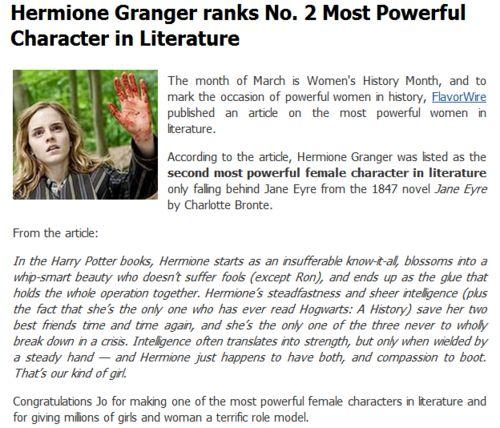 Granger ranks #2 most powerful character in literature