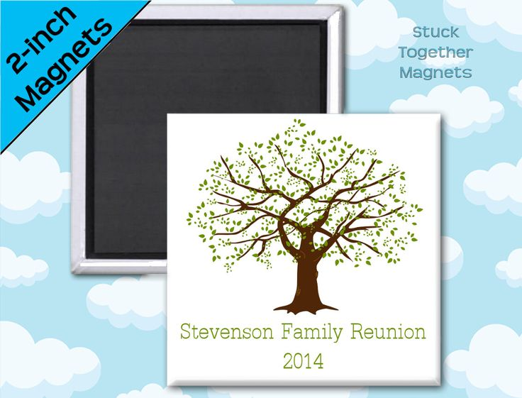 Family Reunion Favors - Magnets - 2 Inch Squares - Set of 10 Magnets by StuckTogetherMagnets on Etsy https://www.etsy.com/listing/185365746/family-reunion-favors-magnets-2-inch