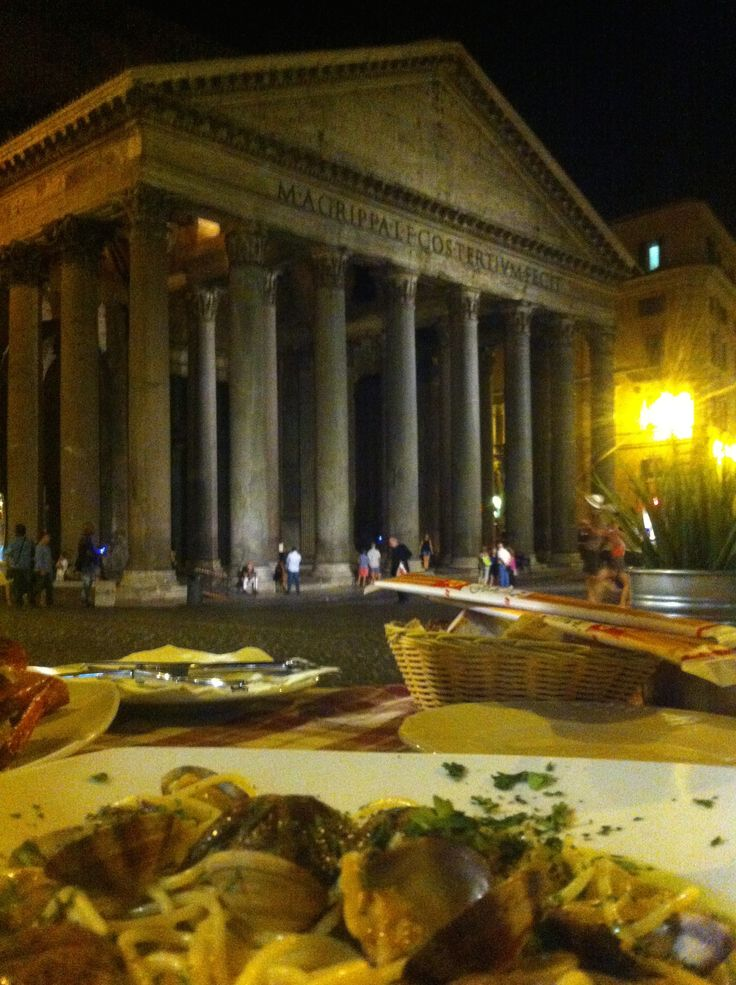 Clams and pasta, a little cafe facing the Pantheon, Rome, Italy.