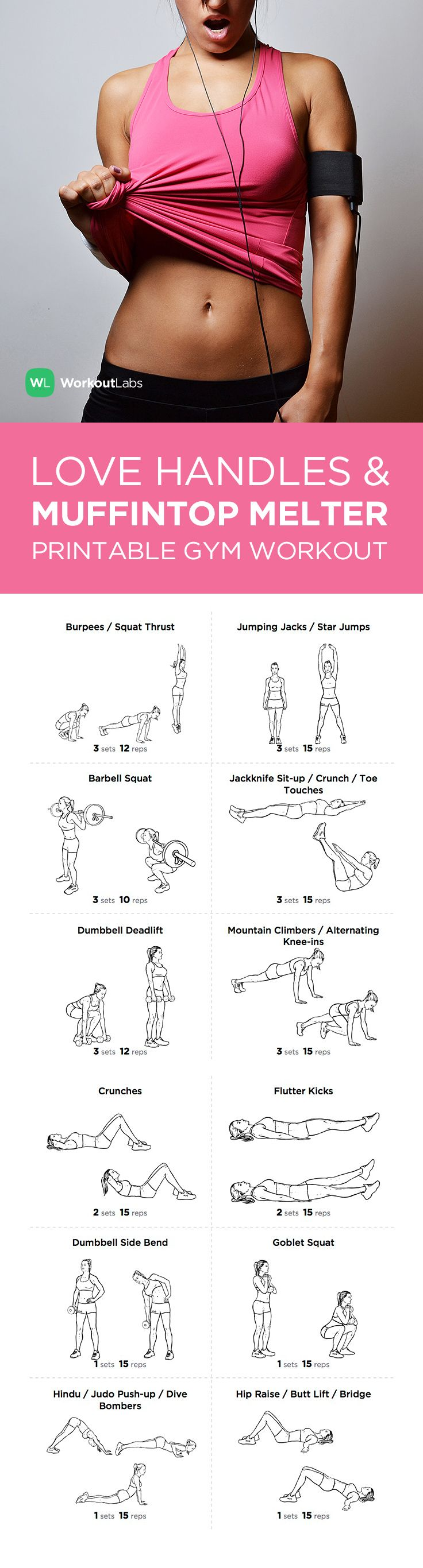 Visit http://WorkoutLabs.com/workout-plans/love-handles-muffin-top-melter-printable-gym-workout-for-women/ for a FREE PDF of this Love Handles