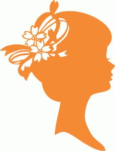 Silhouette Design Store - View Design #73329: silhouette portrait of lady floral decor