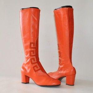60's Mod tangerine Go Go boots