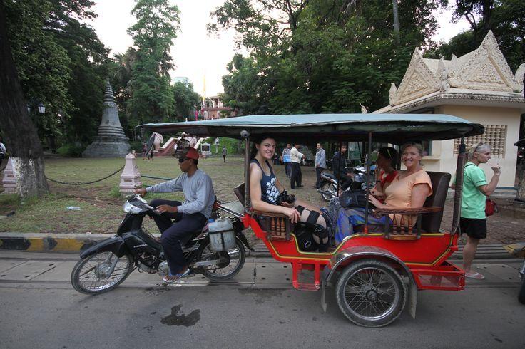 Enjoying a tuk tuk ride. #VietnamSchoolTours #Cambodia #PhnomPenh