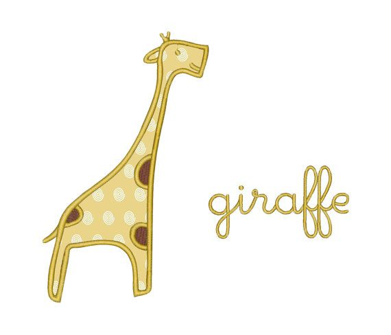 Giraffe Applique Machine Embroidery Design Instant