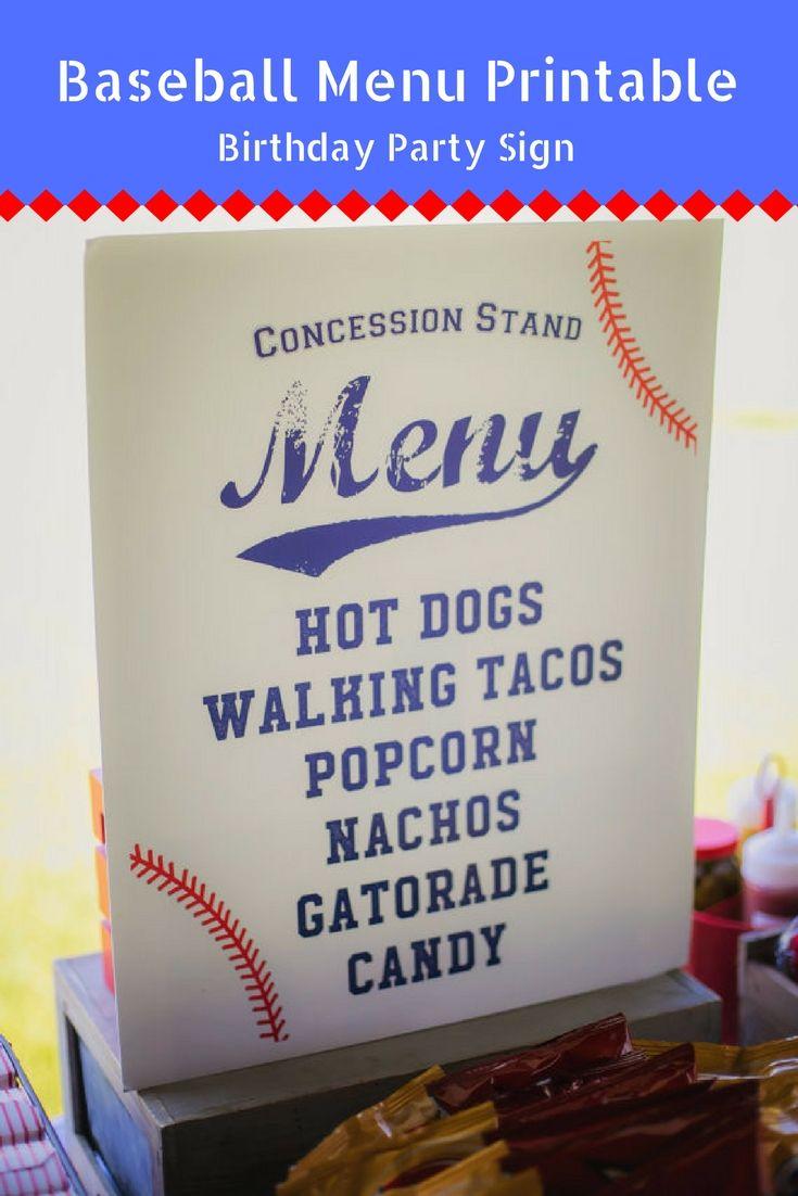 16 x 20 Baseball Party Concession Stand Menu Printable